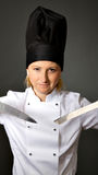Woman cook chef ready for sushi Stock Images