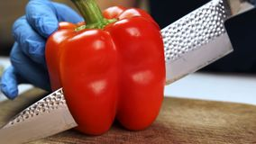Woman cook cuts red pepper in half using knife in kitchen of restaurant. stock video