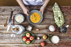 Woman-cook, flour, bakery, Whisk eggs, dough, fritters stock photos