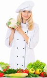 Woman cook with fresh vegetables Stock Photo