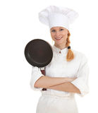 Woman cook frying pan Royalty Free Stock Photos