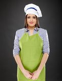 Woman cook with hat and apron Stock Photography