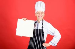 Woman in cook hat and apron. professional chef in kitchen. Cuisine. restaurant menu. Culinary dieting. happy woman. Cooking healthy food by recipe. Housewife stock photo