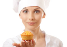 Woman cook holding cake Royalty Free Stock Images
