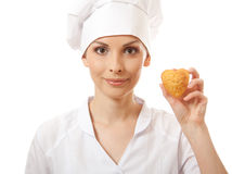 Woman cook holding cake Stock Image
