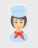 Woman cook icon. Chef avatar Royalty Free Stock Image