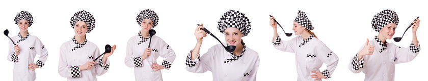 The woman cook isolated on the white Royalty Free Stock Image
