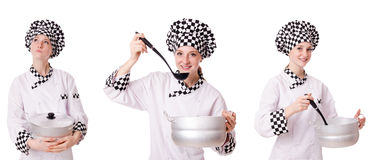 The woman cook isolated on the white Stock Photography
