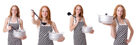 Woman cook isolated on the white Stock Images