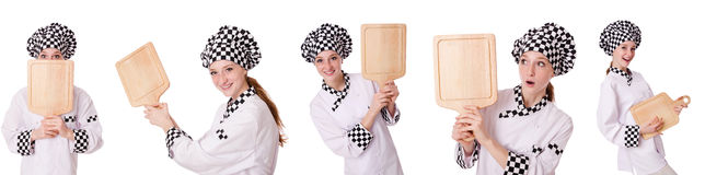 Woman cook isolated on the white Royalty Free Stock Photography