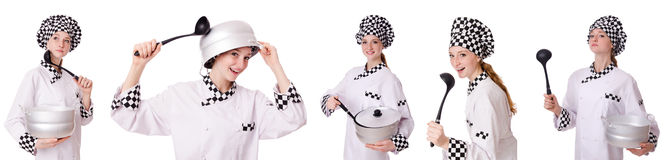 Woman cook isolated on the white Stock Photo