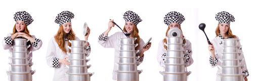 Woman cook isolated on the white Stock Photography
