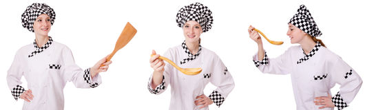 Woman cook isolated on the white Royalty Free Stock Photo