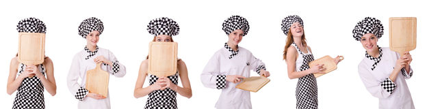 Woman cook isolated on the white Royalty Free Stock Images