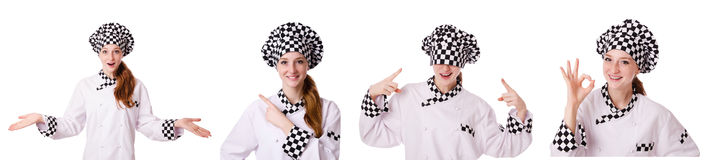 The woman cook isolated on the white Stock Photo