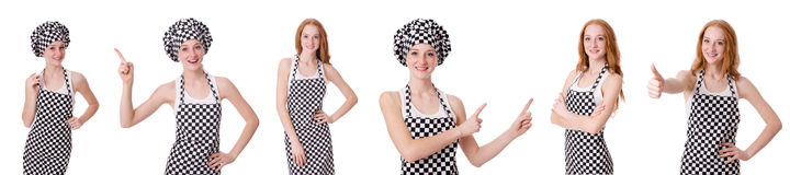 The woman cook isolated on the white Stock Image