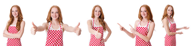 The woman cook isolated on the white Royalty Free Stock Photos