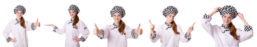 The woman cook isolated on the white Royalty Free Stock Photography