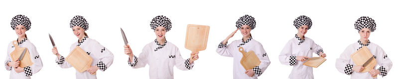 The woman cook isolated on the white Royalty Free Stock Images