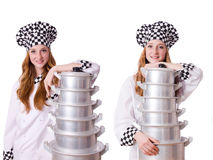 The woman cook isolated on the white Royalty Free Stock Photo