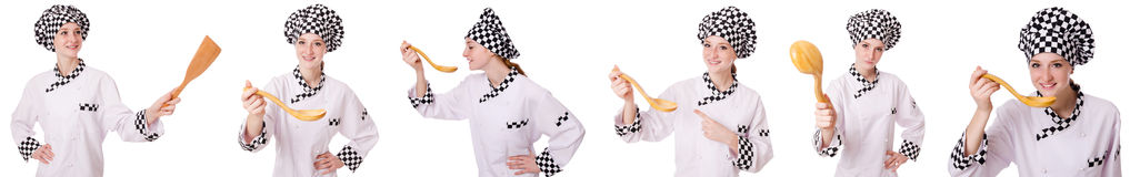 The woman cook isolated on the white Stock Photos