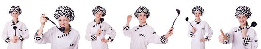 The woman cook isolated on the white Stock Images