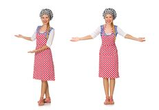The woman cook isolated on the white background. Woman cook isolated on the white background Royalty Free Stock Photos