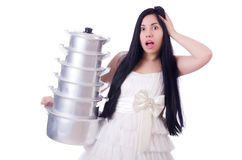 Woman cook isolated Royalty Free Stock Photos