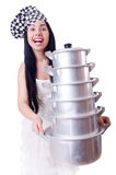 Woman cook isolated Royalty Free Stock Images