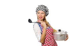 Woman cook isolated on the white background Stock Photos