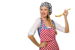 The woman cook isolated on the white background Royalty Free Stock Photos