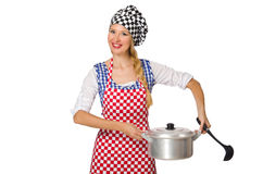 The woman cook isolated on the white background Stock Photo