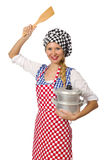 The woman cook isolated on the white background Stock Image