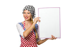 The woman cook isolated on the white background Stock Photos