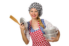 Woman cook isolated on the white background Stock Photo