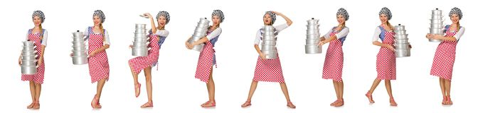 The woman cook isolated on the white background. Woman cook isolated on the white background Royalty Free Stock Images