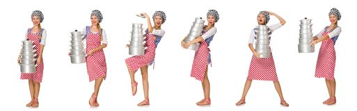 The woman cook isolated on the white background. Woman cook isolated on the white background Royalty Free Stock Image