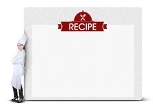 Woman Cook Leaning on Recipe Billboard Royalty Free Stock Photography