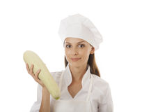 Woman cook with marrow Stock Photo