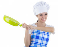 Woman Cook with Pan. Woman cook on white background Royalty Free Stock Photos