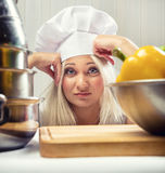 Woman cook. Portrait of overworked woman cook Royalty Free Stock Photos
