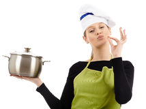 Woman cook with stainless pot Stock Photography