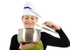 Woman cook with stainless pot Stock Images