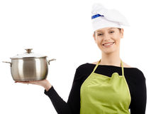 Woman cook with stainless pot Royalty Free Stock Photography