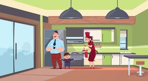Woman In Cook Uniform Giving Cake To Man And Boy In Modern Kitchen Background. Flat Vector Illustration Royalty Free Stock Photography