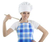 Woman Cook with Wooden Utensils Royalty Free Stock Photos