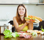 Woman  with cooked  spanish sandwiches Stock Image