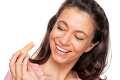 Woman with cookie Royalty Free Stock Image