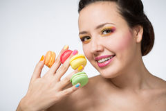 Woman with cookies makarons Royalty Free Stock Photo