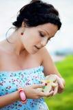 Woman with cookies  man Stock Photos